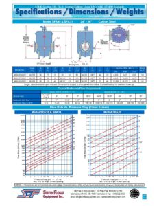 Specs Dimensions Weights 24 – 36 inch Self-Cleaning Strainer