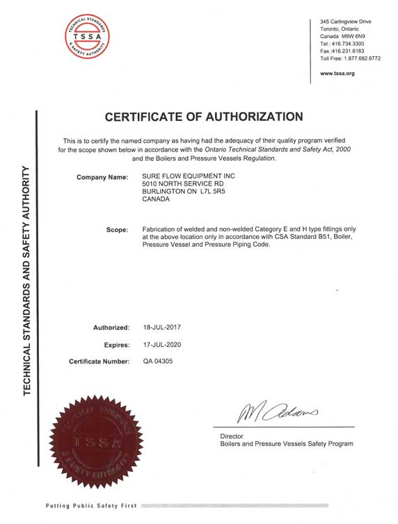 Certification - Sure Flow Equipment Inc, 1(800)263-8251