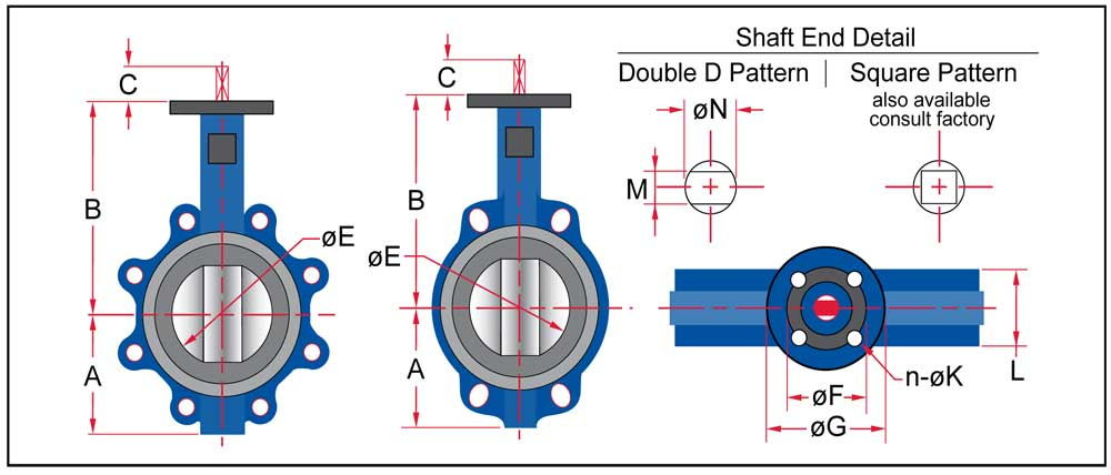 Wafer and Lug Dimensional Data schematic for Sure Flow Butterfly Valve