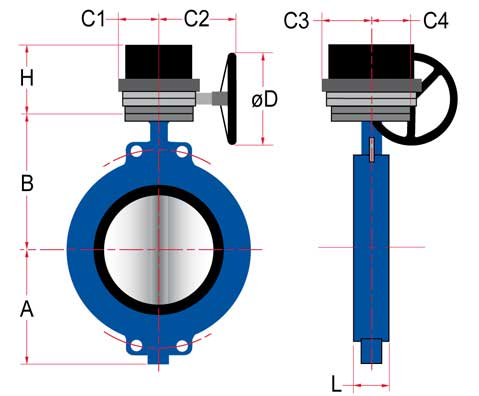 schematic gear operator dimensional data butterfly valves Sure Flow