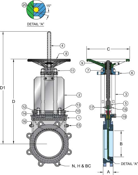 Sure Flow Resilient and metal seated knife gate valve