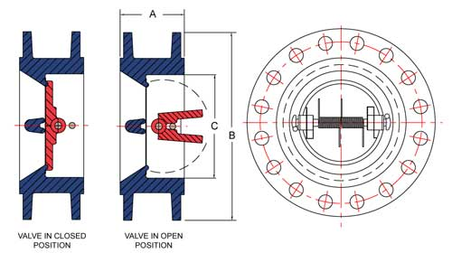 Schematic of valve 150 to 600 Flange Style Check Valve