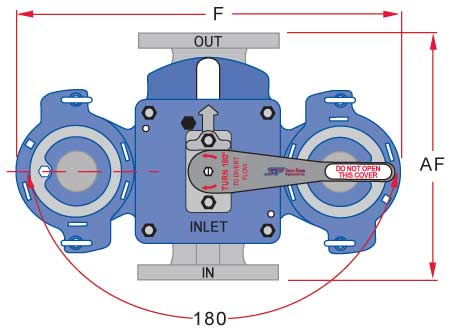 Sure Flow flanged model top view duplex strainer