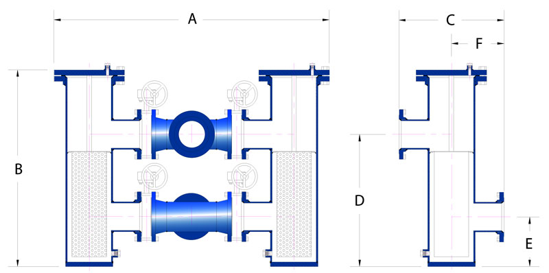 Sure Flow FRP Duplex Strainers schematic