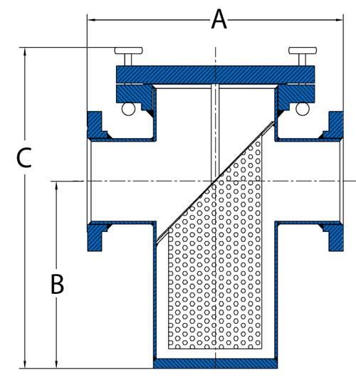 Sure Flow P-Series Schematic cutaway FRP Strainer