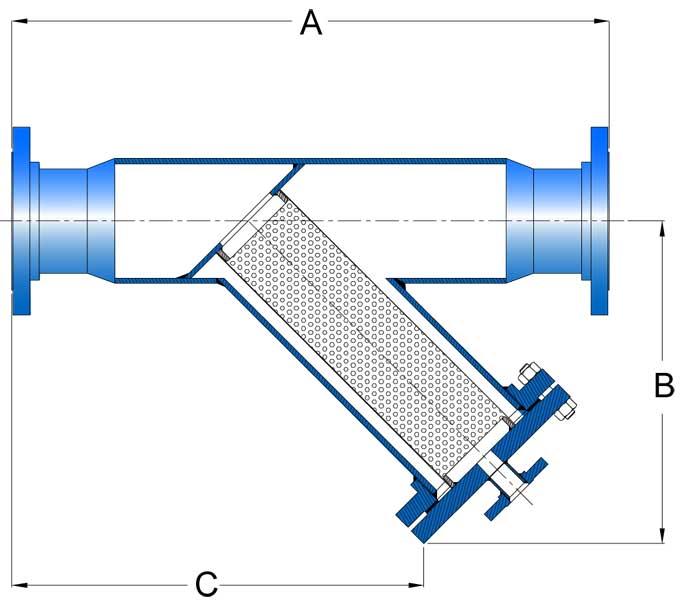 Sure Flow Y Strainer FRP sideview schematic