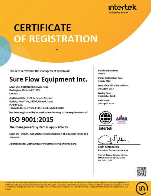 ISO 9001:2015 Certificate Sure Flow Equipment
