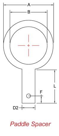 Paddle Spacer schematic for Dimensions