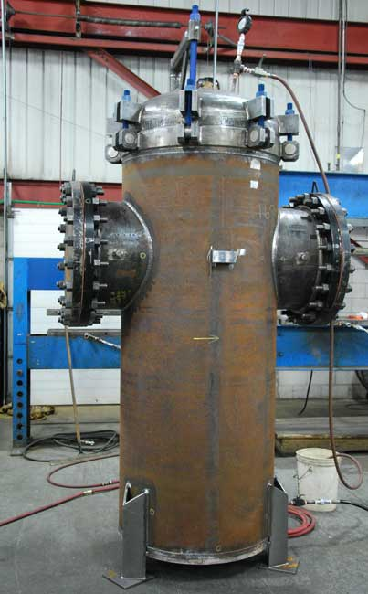 large basket strainer being hydrotested Sure Flow Equipment