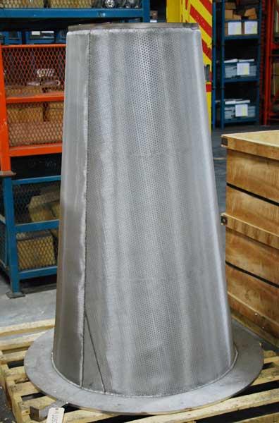 36 inch custom fabricated Sure Flow cone strainer