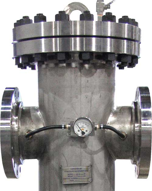 BW150SS basket strainer with differential pressure gauge