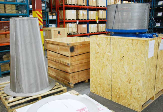 36 inch cone strainer and 24 inch foot valve ready for shipping