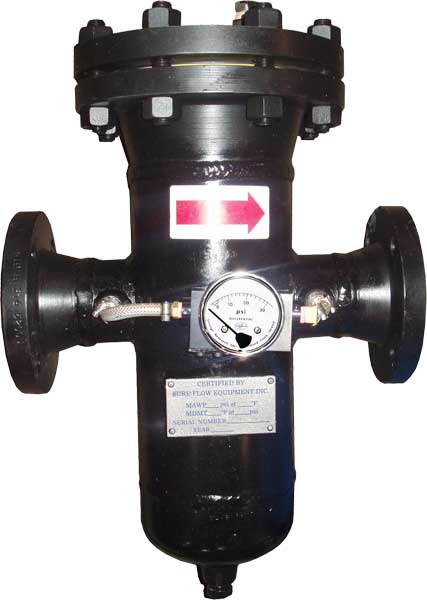 high pressure simplex basket strainer with differential pressure gauge