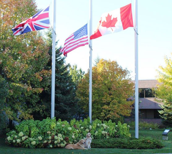 Odus and Acer in front of flags at half mast